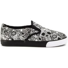Iron Fist Women's Sugar Coma Slip On - Blk ($55) ❤ liked on Polyvore featuring shoes, colorful shoes, iron fist, round toe shoes, rubber sole shoes and iron fist shoes