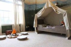 Furniture & Accessories, Camping Canopy Bed Tent In A Kids Woodland Bedroom Design Interior Bedroom Design Of Kids Canopy Bed Ideas: Interior Ideas for Kids Canopy Bed Design
