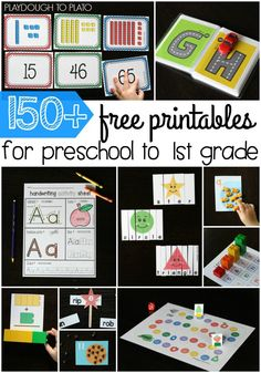 So many free printables for preschool, kindergarten and first grade. Math…