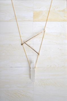 Hammered Bar Necklace with Clear Quartz