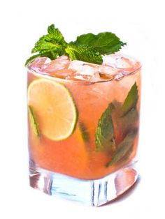 Pink Mojito (2 oz. Pink Pigeon Rum 8 mint leaves 1 lime, juiced ¼ oz. simple syrup 2 oz. cranberry juice Club soda)