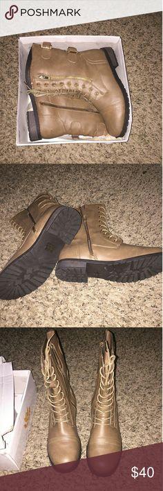 West Blvd Sydney Combat Sydney Combat Boots the color is Taupe Shoes Combat & Moto Boots