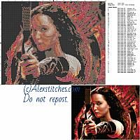 Katniss (Hunger Games) free cross stitch pattern 150x120 50 colors