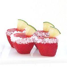 Strawberry Margarita Jello Shots, umm what! I need to step up my jello shots game! Margarita Jello Shooters, Strawberry Margarita Jello Shots, Strawberry Jello, Margarita Mix, Fruit Jello, Fruit Cups, Fun Drinks, Yummy Drinks, Alcoholic Drinks