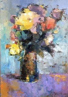 Art of Julia Klimova Flower Painting Canvas, Oil Painting Flowers, Abstract Flowers, Floral Paintings, Art Floral, Flower Artists, Impressionist Art, Pastel Art, Painting Inspiration