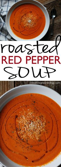 An easy, creamy, roasted red pepper soup recipe - this looks divine! It's gluten free, paleo and whole 30 compliant, too. paleo dinner on a budget Roasted Red Pepper Soup, Roasted Red Peppers, Hot Pepper Soup Recipe, Red Soup Recipe, Green Pepper Soup, Green Pepper Recipes, Roasted Carrot Soup, Paleo Soup, Vegetarian Recipes