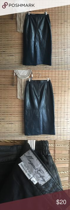Vintage •Leather Skirt• Long leather skirt! Black leather, could use a professional cleaning. Priced to sell! Vintage Skirts