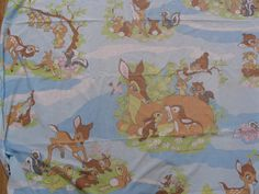Vintage Walt Disney Bambi Fitted Twin Sheet Thumper Flower Owl Fabric #Disney