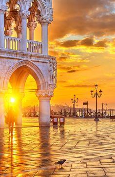 Piazza San Marco at sunrise, Venice. . . #Italy #Venice #Europe #Sunset #Beautiful #Nature #Photography #Italian #Destinations #Travel #Vacation