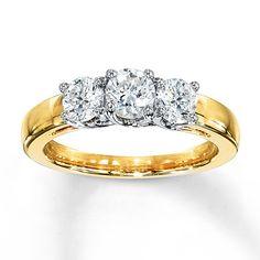 Kay - 3 stone diamond ring 1 ct tw round cut yellow gold throughout eng 3 Stone Diamond Ring, Gold Diamond Rings, White Gold Rings, Diamond Engagement Rings, Diamond Jewelry, Fashion Rings, Fashion Jewelry, Cars 1, Ring Verlobung