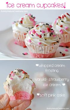 Cupcakes Ice Cream Cupcakes ~ Make these for a party and you wont have to scoop ice cream or cut cake when it comes time to serve!Ice Cream Cupcakes ~ Make these for a party and you wont have to scoop ice cream or cut cake when it comes time to serve! Ice Cream Cupcakes, Cream Cake, Vanilla Cupcakes, Yummy Cupcakes, Cream Frosting, Cone Cupcakes, Raspberry Cupcakes, Mocha Cupcakes, Heart Cupcakes