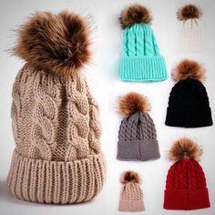 038998045aa Cute Women Autumn Winter Warm Hat Knitting Wool Cap Soft Crochet Knitted  Wool Fur Beanie Pompom Ball Adjustable Hat 2016 New