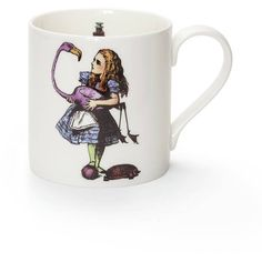 Sophie Allport Alice In Wonderland Fine Bone China Mug ($20) ❤ liked on Polyvore featuring home, kitchen & dining, drinkware, sophie allport, bone china, white mugs and white bone china