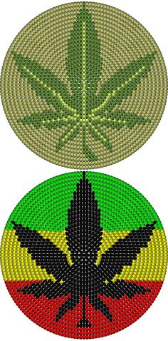 Wayuu Mochila bottom marijuana leaf
