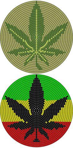 Wayuu Mochila bottom marijuana leaf