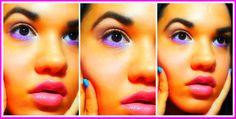 """Hola Chicas Bellas y Hermosas! Aquí un tutorial de maquillaje. Este estilo lo pueden usar durante el día, para brindar color a la cara. . Es una sombra dorada en el parpado móvil, en la área de la esquina izquierda del ojo puse un color marrón oscuro, difuminando para verse natural, se uso en las esquinas posteriores un color llamativo para abrir los ojos y el color lavanda para hacer el """"look"""","""