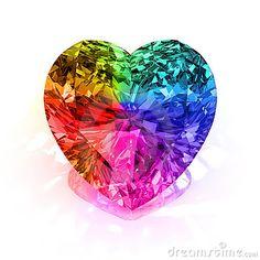 Rainbow heart bling