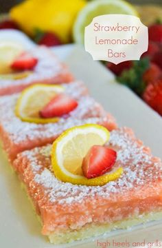 Strawberry Lemonade Bars - High Heels & Grills