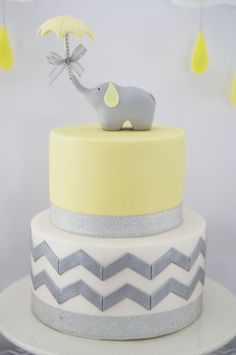 Love this CAKE at a Yellow and Grey Elephant themed baby shower via Kara's Party Ideas KarasPartyIdeas.com Printables, cake, decor, tutorials, recipes, cupcakes, favors, and MORE! #elephant #babyshower #yellowandgray #cake