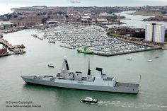 HMS Daring leaves Portsmouth harbour.