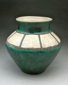 Turquoise and white Raku