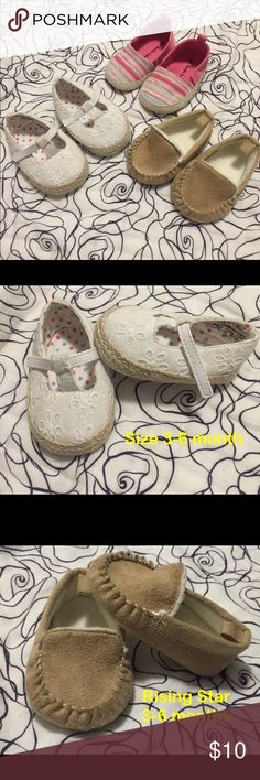 LOT OF THREE INFANT SLIP ON SHOES This listing is for a LOT OF THREE slip on shoes. All are size 2 (3-6 months). Perfect set of shoes for the upcoming warm weather! Please see individual photos for more info. I can break up this lot in order to create a different bundle or sell individually. 🤗 Shoes Baby & Walker