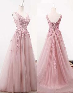 Pink v neck lace tulle long prom dress, pink evening dress sold by Dress idea. Shop more products from Dress idea on Storenvy, the home of independent small businesses all over the world. Formal Bridesmaids Dresses, Pink Prom Dresses, Prom Dresses For Sale, Quinceanera Dresses, Purple Dress, Pretty Dresses, Beautiful Dresses, Wedding Dresses, Light Purple Bridesmaid Dresses