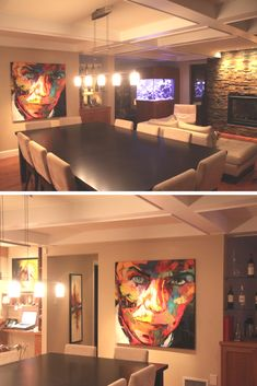 David Bowie painting by Françoise Nielly in our client's home Portrait Paintings, David Bowie, Decoration, Pop Art, Flat Screen, Artist, Artwork, Flowers, Home Decor