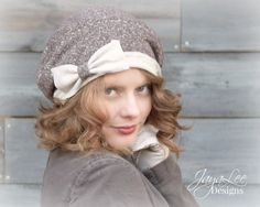 Slouch Beanie Beret Hat in Brown with Large by GreenTrunkDesigns