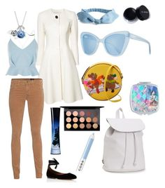 """Disney Bound- Cinderella"" by claire-loescher on Polyvore featuring Carolina Herrera, AG Adriano Goldschmied, River Island, Tabitha Simmons, Olympia Le-Tan, MAC Cosmetics, Giorgio Armani, Disney, Prism and Aéropostale"