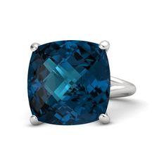 Checkerboard Cushion Pavilion London Blue Topaz Sterling Silver Ring - Pure Cushion Ring | Gemvara