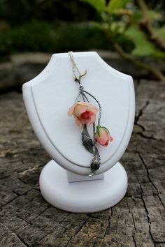 Silver womens Jewelry - Rose Pendant from Polymer Clay - Anniversary Jewelry gift - Wedding Pendant with the chain- Mother's Day Gift by Jewelrylimanska on Etsy.     LOVE!!! ♥A