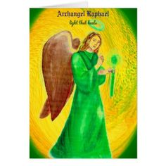 Archangel Raphael Greeting Card - light gifts template style unique special diy
