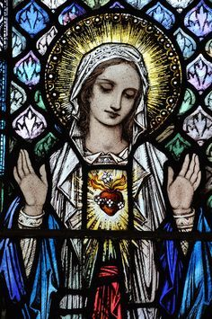The Blessed Virgin Mary Stained Glass Church, Stained Glass Art, Stained Glass Windows, Mosaic Glass, Blessed Mother Mary, Blessed Virgin Mary, Religious Icons, Religious Art, Religious Paintings