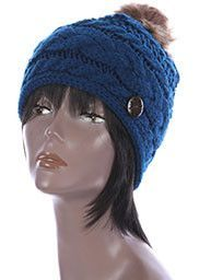 Blue CABLE KNIT stylish Winter Beanie HAT CAP w / Faux FUR Pom Pom