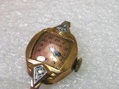 Vintage Art Deco 14kt Rose Gold Filled Bulova Watch, 5564814, Diamond, parts/rep…