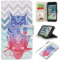 iPhone 7 Plus Case, UrSpeedtekLive 7 Plus Wallet Case, Premium PU Leather Flip Case Cover with Card Slots & Kickstand for Apple iPhone 7 Plus - Chevron Owl Pattern. Customized design for Apple iPhone 7 Plus ( NEW 2016). Durable synthetic leather exterior with magnet closure integrated with inner TPU snap on case provide full body protection for your phone against scratches, greasy dirt and abrasions. UrSpeedtekLive special pattern printed on the leather case dressing up your phone pretty...