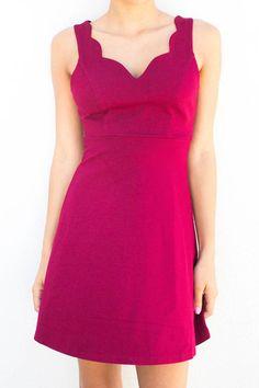 Rosalia Deep Red Scalloped Flare Dress