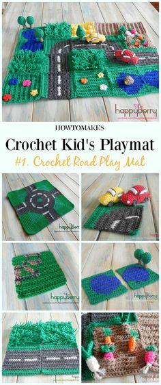 Crochet Road Play Mat Free Crochet Pattern - #Crochet Kids #Playmat Free Patterns Kids Gifts