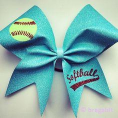 Light turquoise glitter softball bow with glitter designs - BRAGABIT Softball Hair Braids, Softball Hairstyles, Softball Bows, Cheerleading Bows, Softball Shirts, Softball Catcher, Girls Softball, Softball Players, Cheer Bows
