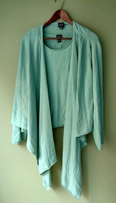 00a830c7f76 Eileen Fisher Light Green Silk Cashmere Draped 2 Piece Top + Cardigan Set  Sz XL