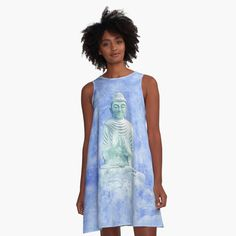 -  Loose swing shape for an easy, flowy fit.   -  Print covers entire front and back panel.   -  97% polyester, 3% elastane woven dress fabric with silky handfeel.   . . . #dress  #flowingdress  #flowydress  #alinedress  #bitsofeverywhere  #buddahdress #buddha  #namastedress #namaste