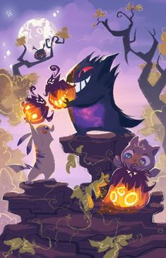 Halloween pokemon , Drawing Melon on ArtStation at… Pokemon Halloween, Anime Halloween, Halloween Art, Halloween 2019, Happy Halloween, Halloween Costumes, Pokemon Go, Pokemon Legal, Ghost Pokemon