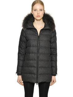 DUVETICA BLODWEN WOOL FLANNEL DOWN JACKET, NATTE CARBONE. #duvetica #cloth #down jackets