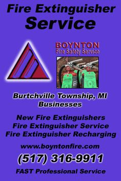 Fire Extinguisher Service Burtchville Township, MI (517) 316-9911  We're Boynton Fire Safety Service.. The Main Source for Fire Protection for Michigan Businesses. Call Today!  We would love to hear from you.