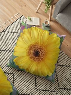 I received a bunch of gerberas and pink carnations from my husband. Never miss an opportunity to be creative, when given a bunch of flowers.This yellow gerbera will brighten the darkest corners. Throw Pillows Bed, Bed Throws, Floor Pillows, Decorative Throw Pillows, Pink Carnations, Gerbera, Floral Cushions, Bunch Of Flowers, Wall Tapestry