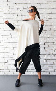 White Asymmetric Top / Loose Long Tunic / Black by Metamorphoza