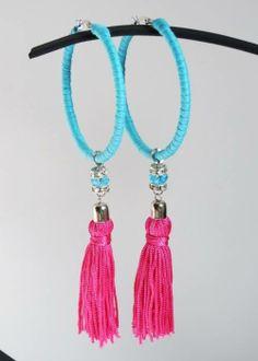 Argola azul e tassel rosa pink