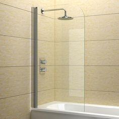 Single Curved Frameless Shower Over Bath Screen 6 mm Glass Pivot 180° 1400 X 800 - http://showerdoorspares.co.uk/complete-screens/complete-bath-screens/single-curved-frameless-shower-over-bath-screen-6-mm-glass-pivot-180-1400-x-800