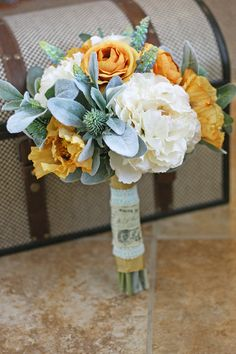 Mint and Mustard Rustic Bouquet - Southern Girl Weddings